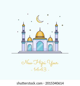 Vector illustration of happy new Hijri year 1443 with single line style. Happy Islamic New Year. Graphic design for the decoration of gift certificates, banners and flyer.