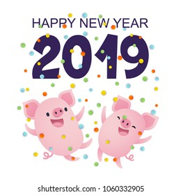 Vector illustration, Happy New Year 2019 card with cute cartoon pigs and confetti.