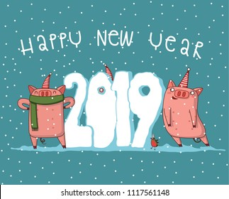 Vector illustration, Happy New Year 2019 funny card design