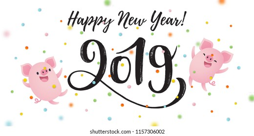Vector illustration, Happy New Year 2019 hand drawn lettering. Greeting card with cute cartoon pigs and confetti.