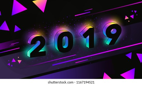 Vector Illustration of Happy New Year 2019 with Neon Glow and Colorful Modern Geometric Elements