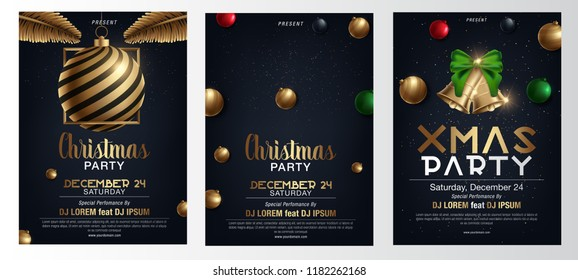 Vector illustration of Happy New Year 2018 and Merry Christmas brochure, flyer, party, holiday invitation, corporate celebration. Gold ball, star, gift, snowflake composition on black background