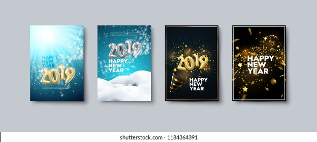 Vector illustration of Happy New Year posters or flyers set. Holiday banners with metallic 2019 numbers, party popper, snow, tinsel and confetti. Winter festive decoration. New Year party invitation