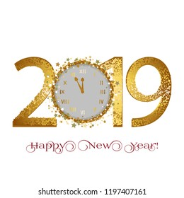 Vector illustration of Happy New Year 2019. Golden stars and clocks on a white background.