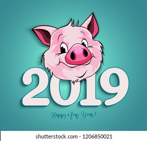 Vector illustration, Happy New Year 2019 funny card design with cartoon pigs face