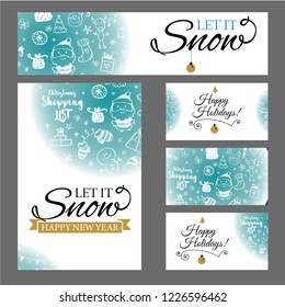 Vector illustration of Happy New Year 2018 and Merry Christmas brochure, flyer, party, holiday invitation, corporate celebration. Gold ball, star, gift, snowflake composition on white background.