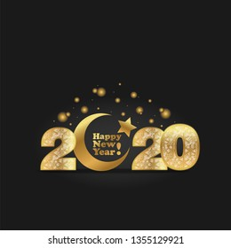 Vector illustration of happy new year 2020 gold numeral with silver snowflakes ornament on black background with golden moon and star-muslim symbol. Year of the Rat for Chinese calendar cover design