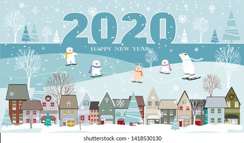 Vector illustration Happy New Year 2020 with Panorama winter landscape in city with snow covering and polar bear playing ice skate behind city, Merry Christmas or Holiday background