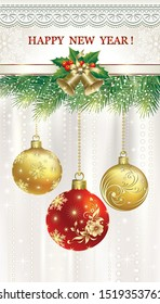 Vector illustration of happy new year 2020 with Christmas balls, bells on fir branches with delicate background