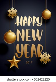 vector illustration of happy new year 2017 sale gold and black collors place for text christmas balls 2020