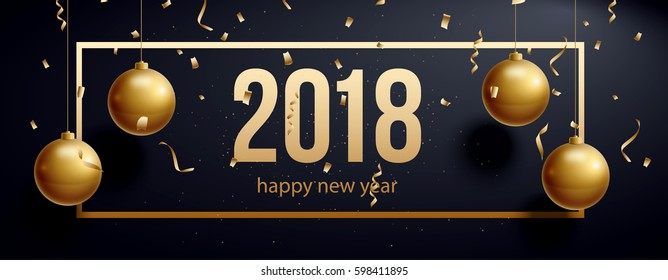vector illustration of happy new year 2018 gold and black colors place for text christmas balls