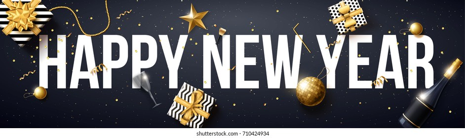 vector illustration of happy new year 2018 gold and black collors place for text christmas balls star champagne glass 2019 2020