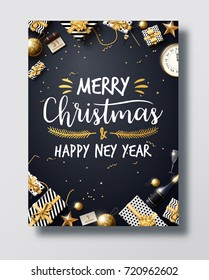 vector illustration of happy new year 2018 gold and black colours place for text christmas balls star champagne glass flayer brochure  2019