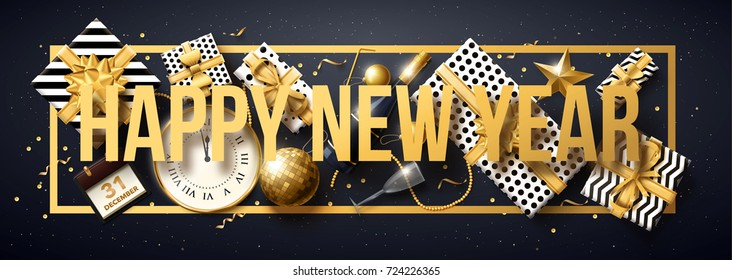 vector illustration of happy new year 2018 gold and black collors place for text christmas balls star champagne glass 2019