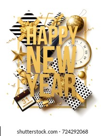 vector illustration of happy new year 2019 gold and black collors place for text christmas balls star champagne glass