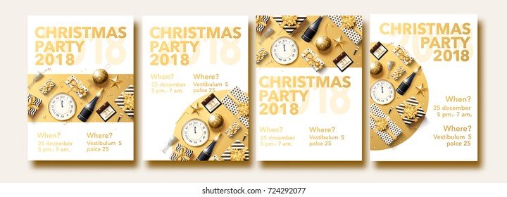 vector illustration of happy new year 2018 gold and black collors place for text christmas balls star champagne glass flayer brochure set 2019