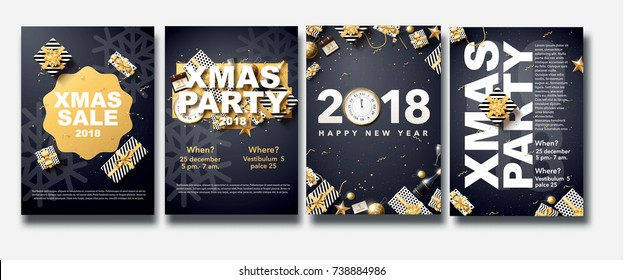 vector illustration of happy new year 2018 gold and black colors place for text christmas ornaments,balls star champagne glass flyer brochure  2019