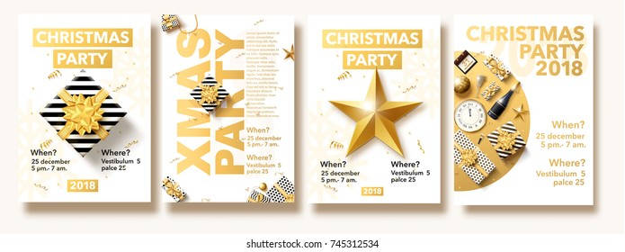 vector illustration of happy new year 2018 gold collors place for text christmas balls star champagne glass flayer brochure top view 2020