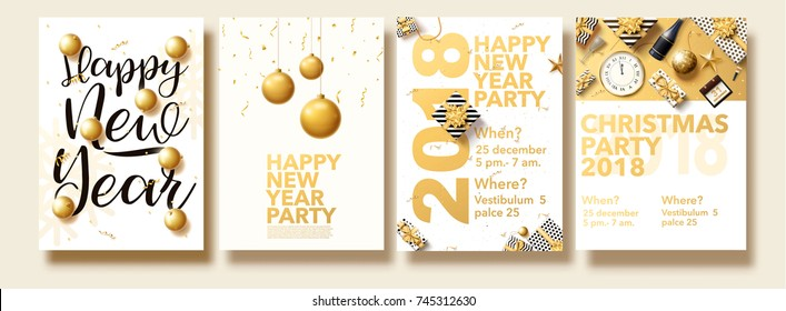 vector illustration of happy new year 2018 gold collors place for text christmas balls star champagne glass flayer brochure top view 2019 2020