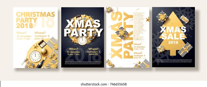 vector illustration of happy new year 2018 gold and black colors place for text, christmas balls star champagne glass flyer brochure  2019