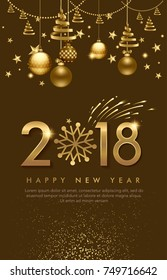vector illustration of happy new year 2018. balls, star,  firework, for flayer, brochure, invitation card, and background