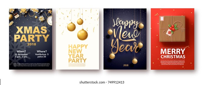 vector illustration of happy new year 2018 gold and black collors place for text christmas balls star champagne glass flayer brochure  2019 2020