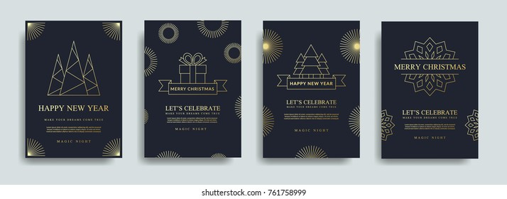 Vector illustration of happy new year 2018. Marry christmas  posters set. Posters with place for text. Marry christmas background for flayers and brochure