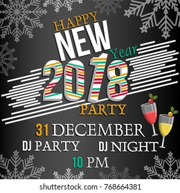 Vector illustration of Happy New Year 2018 party celebration poster