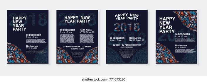 Vector illustration of happy new year 2018 with doodle creative style