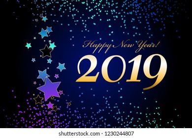 Vector illustration of Happy NewYear 2019! Bright stars on a blue night sky.