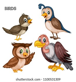 Vector Illustration of a Happy Nightingale, Owl, Quince and Vulture. Cute Cartoon Birds Isolated on a White Background. Happy Animals Set