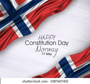 Vector illustration of Happy Norway Constitution Day 17 May. Waving flags isolated on gray background.
