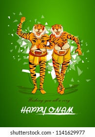 vector illustration of Happy Onam background for Festival of South India Kerala with Puli Kali dancer