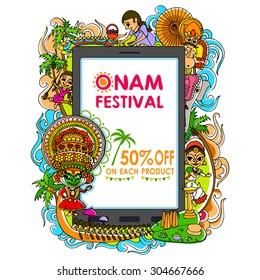 vector illustration of Happy Onam big sale