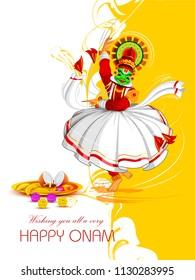 vector illustration of Happy Onam Festival background of Kerala with Kathakali dancer