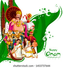 vector illustration of Happy Onam Festival background of Kerala with Kathakali dancer and King Mahabali