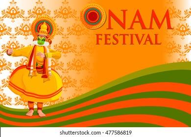 vector illustration of Happy Onam Festival background