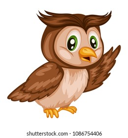 Vector Illustration of a Happy Owl. Cute Cartoon Owl Isolated on a White Background. Happy Animals Set
