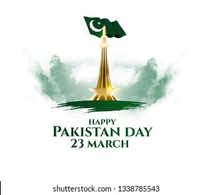vector illustration. Happy Pakistan Day on March 23rd. National holiday in Pakistan commemorating the Lahore Resolution passed on 23 March