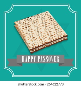 Vector illustration for Happy Passover with a ribbon in green background.