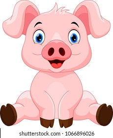 Vector illustration of happy pig cartoon isolated on white background