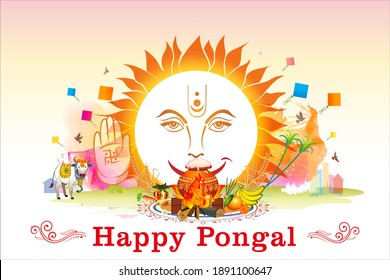 Vector illustration of Happy Pongal Festival celebration and typography text