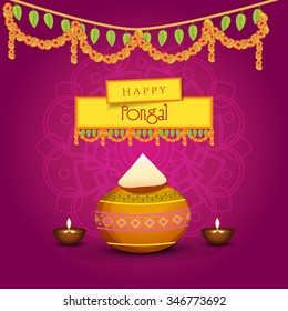 Vector illustration of Happy Pongal greeting card.