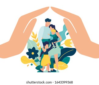Vector illustration of a happy prosperous family in flowers, mother father daughter son cuddling together near family protection