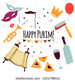 Vector illustration Happy Purim carnival set of design elements. Purim Jewish holiday, isolated on white background.