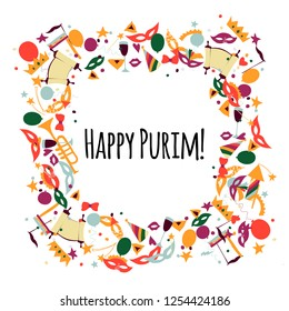 Vector illustration Happy Purim carnival. Frame in the form of a wreath. Purim Jewish holiday, isolated on white background.
