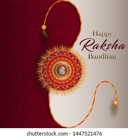 Vector Illustration of Happy Rakhi Festival Greeting Background Template Design.
