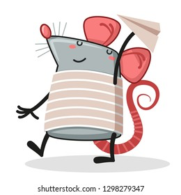 Vector illustration of happy rat playing with paper airplane - Vector