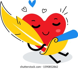 Vector illustration of happy red heart character writing a love poem by feather on white background. Flat style design for Valentine's Day greeting card, web, site, banner, poster, sticker