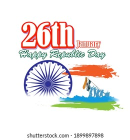 Vector illustration of Happy Republic day concept banner, 26 January, national holiday of India, Indian flag, illustration poster.